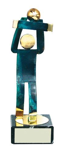 Volleyball Blue Figure Handmade Metal Trophy - 600 VO