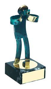 Photographer Blue Figure Handmade Metal Trophy - 600 FO