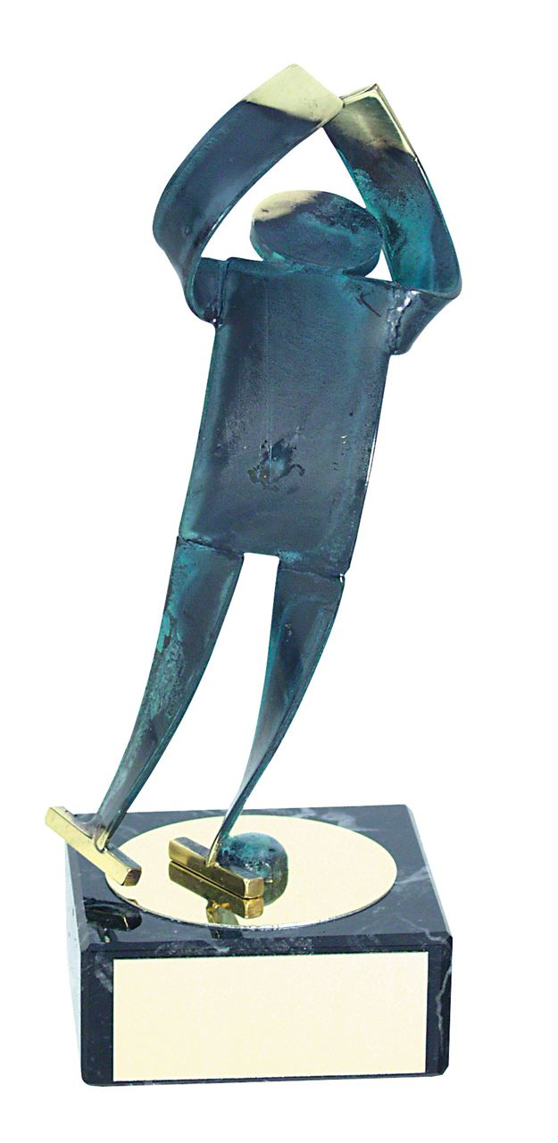Ice Skating Blue Figure Handmade Metal Trophy - 600 PM