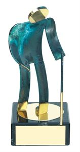 Hiking Blue Figure Handmade Metal Trophy - 600 EX
