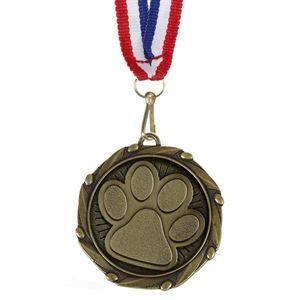 Combo Paw Print Medal & Ribbon (size: 45mm) - AM1146.12