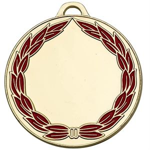 Gold and Red Classic Colour Wreath Engraved Medal - AM859G