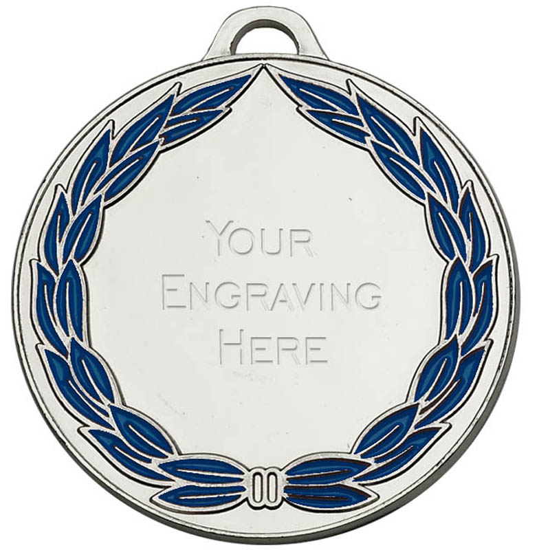 Silver and Blue Classic Colour Wreath Engraved Medal - AM859S