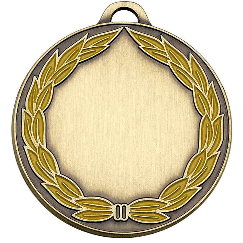 Bronze and Yellow Classic Colour Wreath Engraved Medal - AM859B