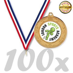 Pack Of 100 Emperor Medals With Ribbons & Free Logo Inserts (40mm) - MM2112/SET100