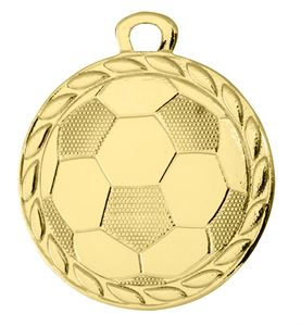 Pack of 100 Gold Football Medals with Ribbons & Text Labels (32mm) - DI3202/SET100