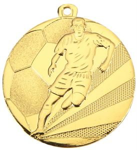 Pack of 100 Gold Footballer Medals with Ribbons & Text Labels (50mm) - D112A.01