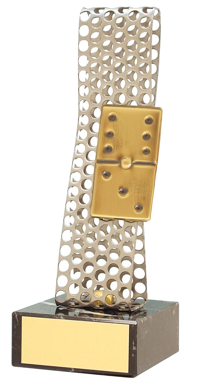 Silver Perforated Domino Handmade Metal Trophy - 119