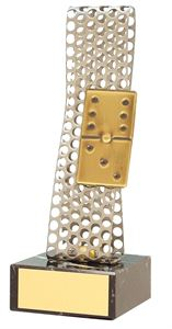Silver Perforated Domino Handmade Metal Trophy