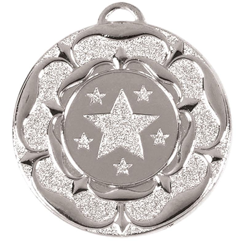 Target Tudor Rose Medal (size: 50mm) - AM935S Silver