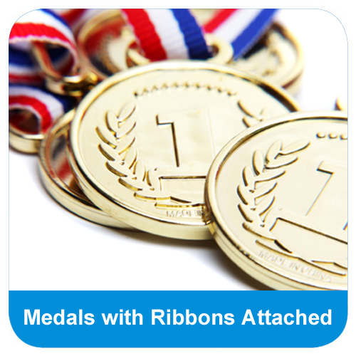 Medals with ribbons attached