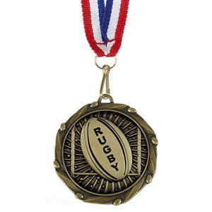 Combo Rugby Ball Medal & Ribbon - AM1158.12