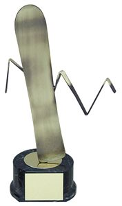 Gold Snowboard Handmade Metal Trophy - 671