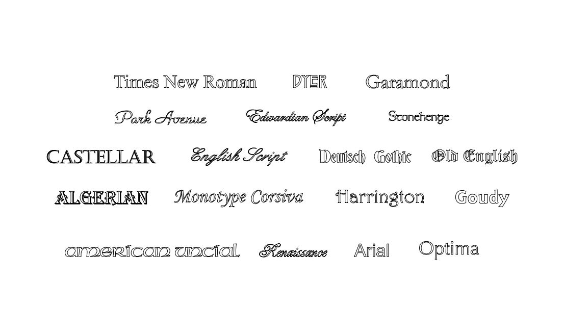 Select a font for text engraving
