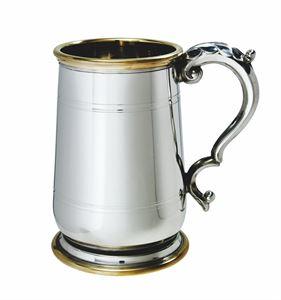 Hallam 1 Pint Pewter & Brass Jacobean Tankard - A532