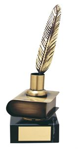 Quill and Book Handmade Metal Trophy - 286