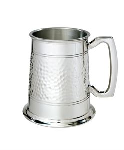 Half Hammered 1 Pint Pewter Tankard  - A238H