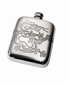 Chinese Dragon Pewter Pocket Flask - 844DR