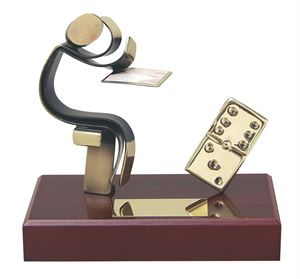 Dominoes Playing Figure Handmade Metal Trophy - 300 DO