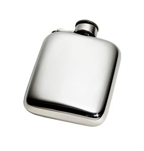 4oz Plain Pewter Pocket Flask with Captive Top - 884/C
