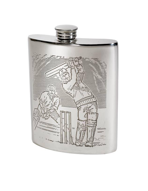 6oz Cricket Scene Pewter Kidney Hip Flask - 4756CR
