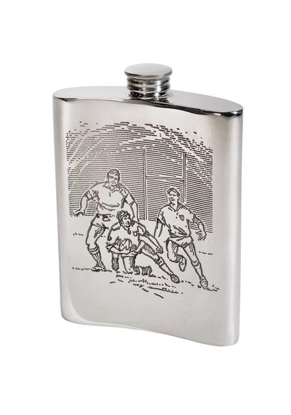6oz Rugby Scene Pewter Kidney Hip Flask - 4756RG