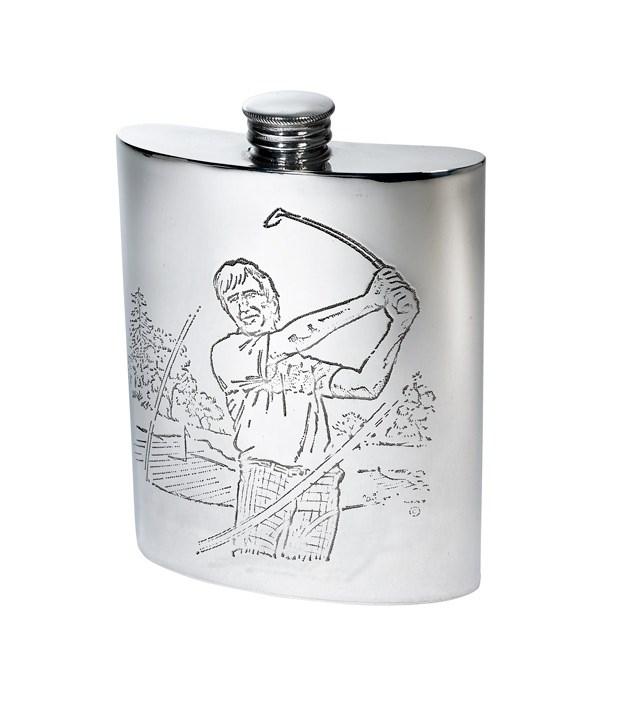 6oz Golf Scene Pewter Kidney Hip Flask - 4756GO