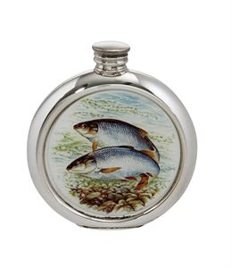 6oz Round Roach Pewter Picture Flask - 4766PICLA