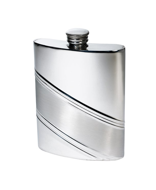 6oz Diagonal Stripe Pewter Kidney Hip Flask - 4756DS