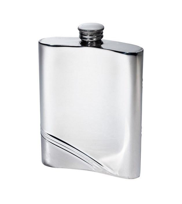 6oz Diagonal Stripe Pewter Kidney Hip Flask (back) - 4756DS