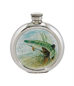 6oz Round Pike Pewter Picture Flask - 4766PICLB