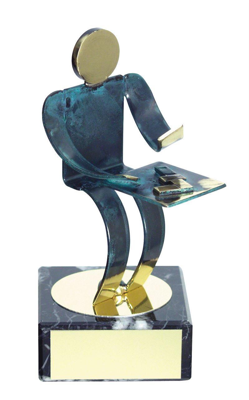Domino Playing Blue Figure Handmade Metal Trophy - 600 DO