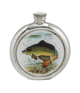6oz Round Pewter Carp Picture Flask - 4766PICLC