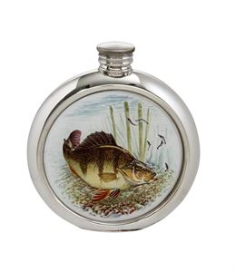 6oz Round Perch Pewter Picture Flask - 4766PICLD