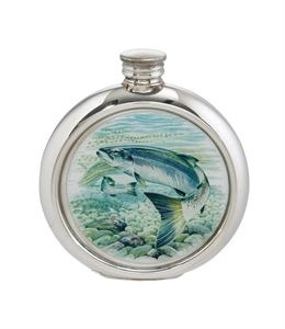 6oz Round Salmon Pewter Picture Flask - 4766PICLE