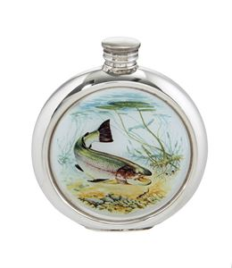 6oz Round Trout Pewter Picture Flask - 4766PICLF