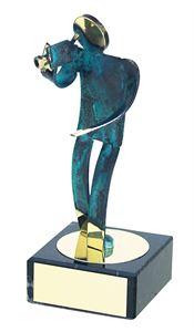 Camera Operator Blue Figure Handmade Metal Trophy - 600 VI