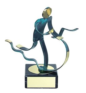 Triathlon Blue Figure Handmade Metal Trophy - 600 TH
