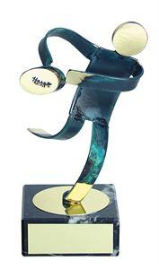 Rugby Blue Figure Handmade Metal Trophy - 600 RU