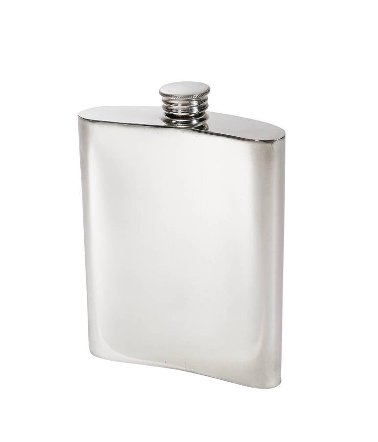 21 Key Stamp Pewter Kidney Hip Flask (back) - 475621S