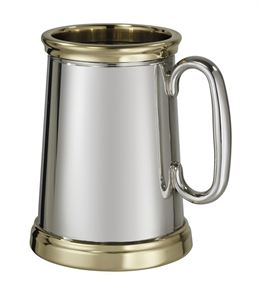 Wortley X Range Pewter and Brass Heavy 1 Pint Pewter Tankard - 530X
