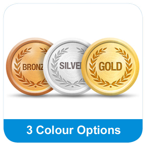 Available in gold, silver & bronze