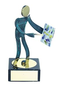 Artist Blue Figure Handmade Metal Trophy - 600 PN
