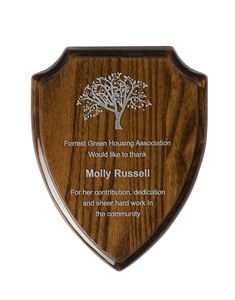 High Gloss Walnut Finish Shield Plaque - TZ039