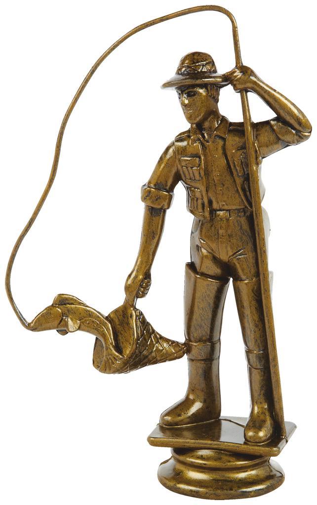 Antique Gold Fisherman Trophy Figure Top - T.6130