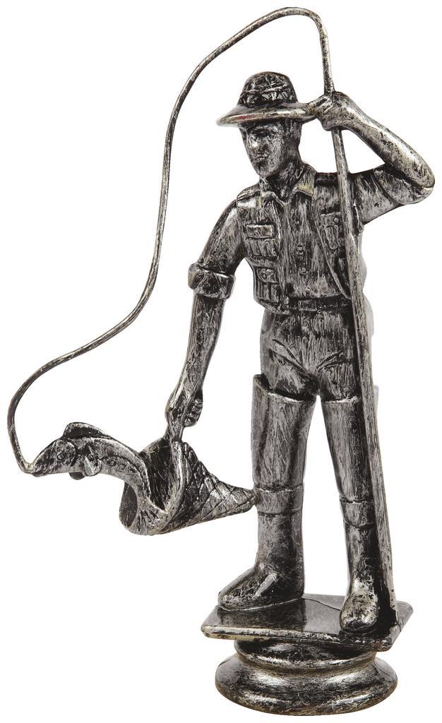 Antique Silver Fisherman Trophy Figure Top - T.6131