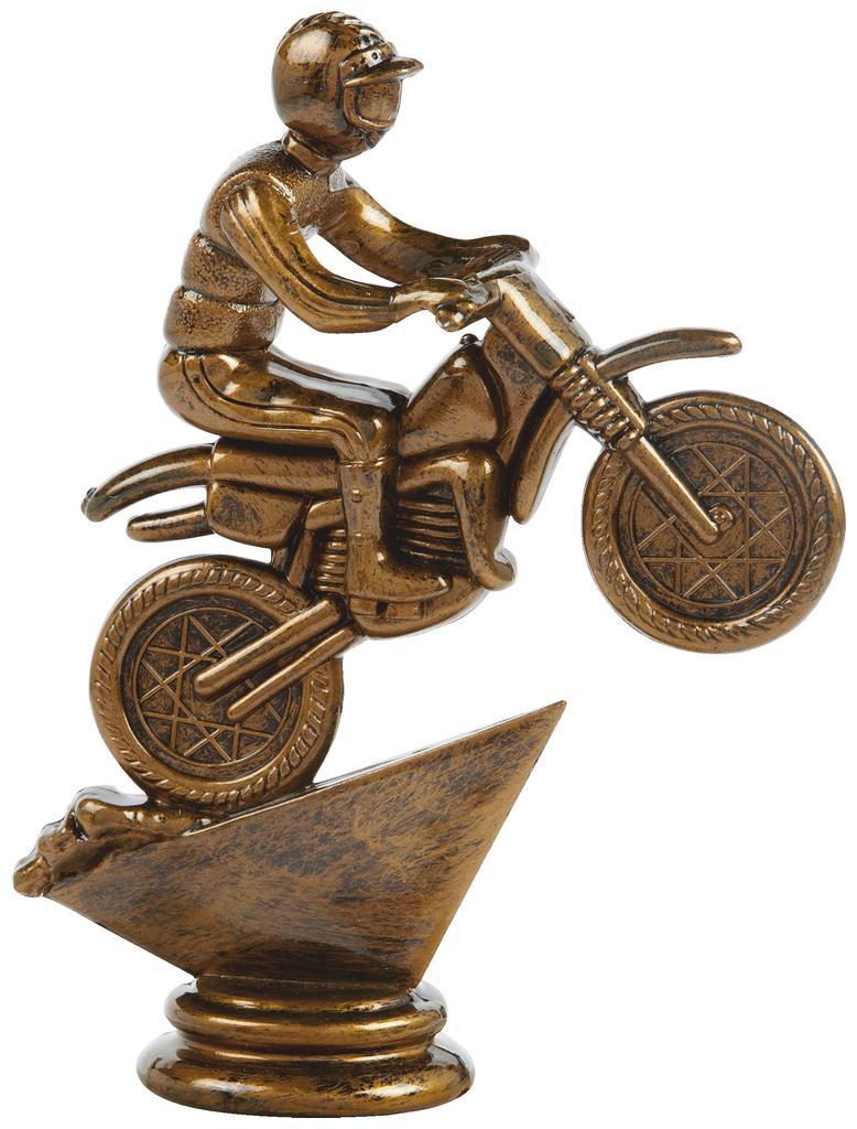 Antique Gold Motor Cross Trophy Figure Top - T.6088