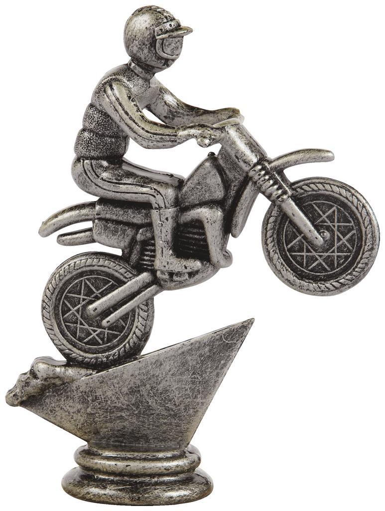 Antique Silver Motor Cross Trophy Figure Top - T.6089