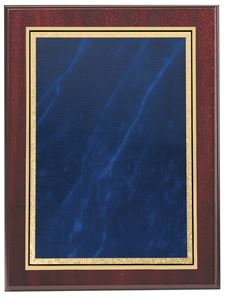 Mahogany Finish Wall Hanging Plaque with Blue Marble Mist Front - BP01