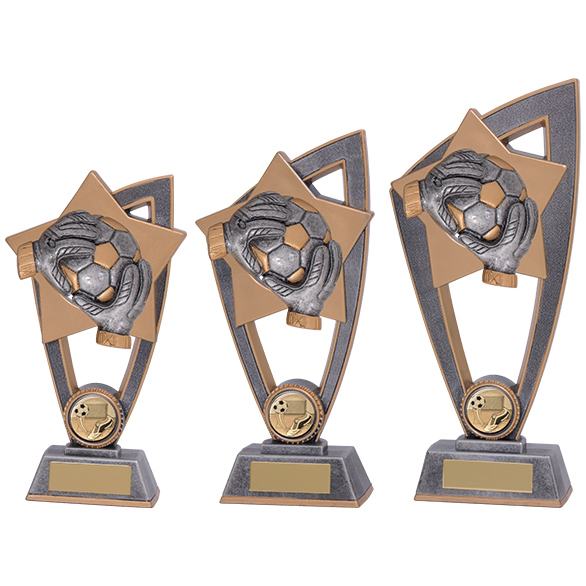 Star Blast Football Goalkeeper Trophy in 3 sizes - PL18141
